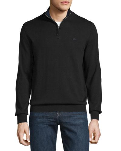 Classic Quarter-Zip Jersey Sweater, Black/Navy Blue
