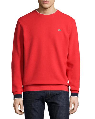 Semi-Fancy Piqué Sweatshirt, Cherry Red/Navy Blue