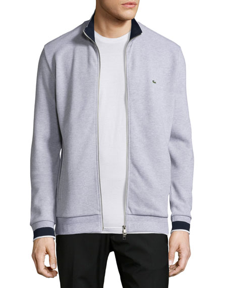 LacosteSemi-Fancy Piqué Front-Zip Sweater, Silver Chine/Navy