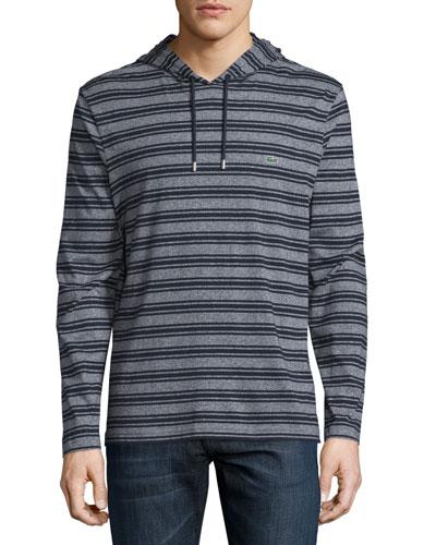 Striped Cotton Hooded Sweatshirt, Navy Blue Mouline