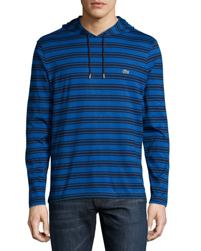 Striped Cotton Hooded Sweatshirt, Steamer/Cosmos