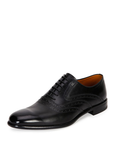 Perforated Calfskin Leather Dress Shoe, Black