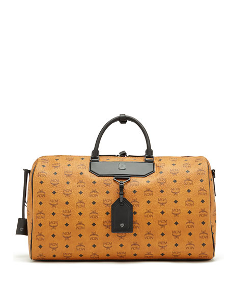MCM Nomad Coated Canvas Weekender Bag, Cognac
