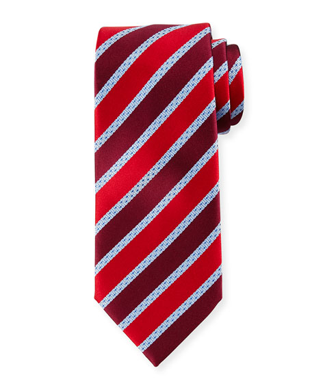 Satin-Striped Silk Tie, Red/Navy
