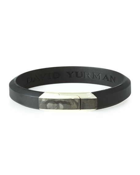 David Yurman Men's Forged Carbon Rubber ID Bracelet