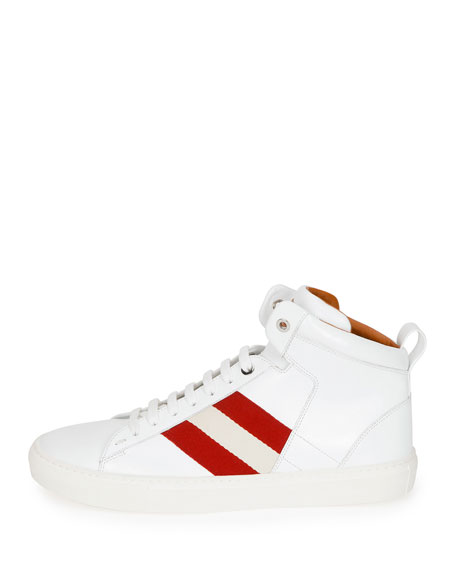 Men's Hedern Trainspotting Stripe Mid-Top Sneakers, White