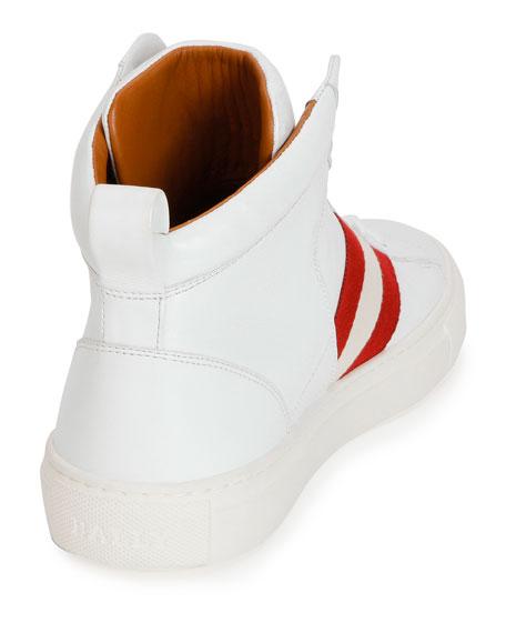 Hedern Trainspotting Stripe Mid-Top Sneaker, White