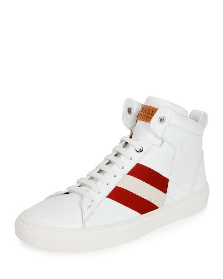 Bally Men's Hedern Trainspotting Stripe Mid-Top Sneakers, White