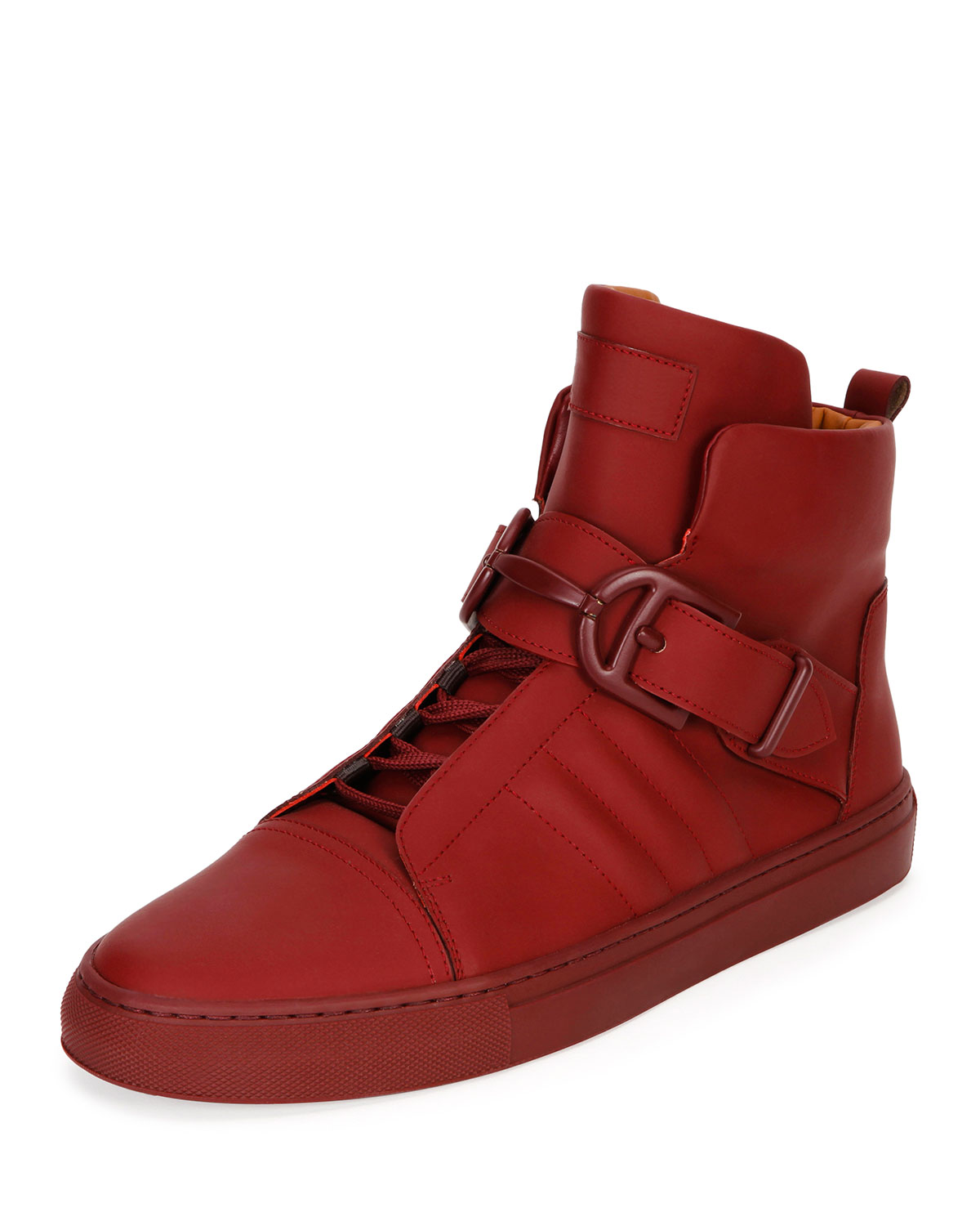 c6b73e73ac7 Heilwing Rubberized Leather High-Top Sneaker, Dark Red