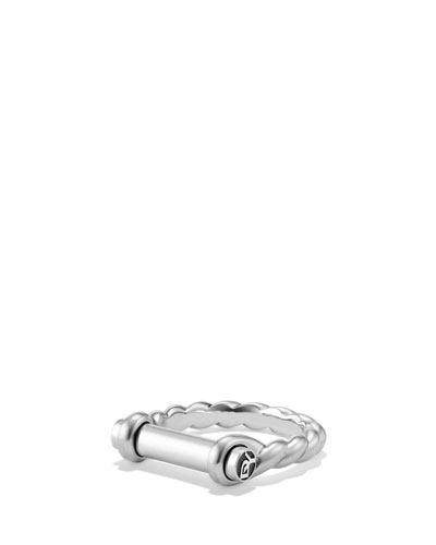 7mm Sterling Silver Maritime Shackle Ring, Men's Size 10