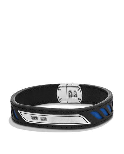 Men's Leather Cable ID Bracelet