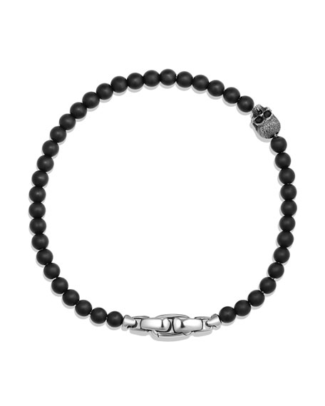 Men's Spiritual Beads Skull Bracelet with Black Onyx