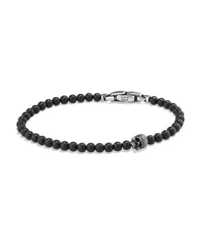 Men's Spiritual Beads Skull Bracelet with Black Onyx