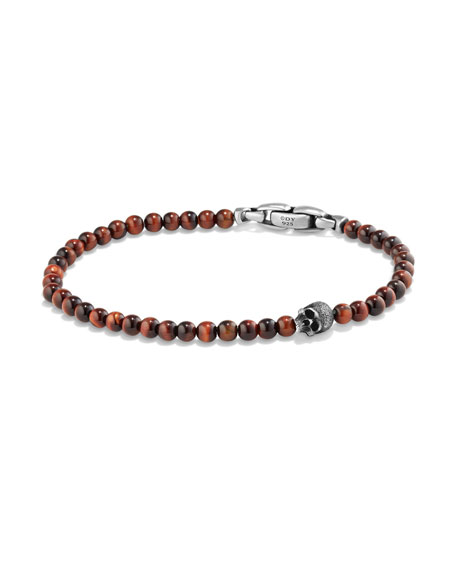 David Yurman Men's Spiritual Beads Skull Bracelet with