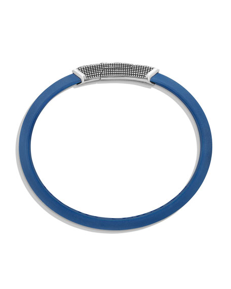 Men's Waves Rubber ID Bracelet, Blue