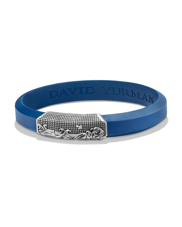 David Yurman Men S Waves Rubber Id Bracelet Blue Neiman
