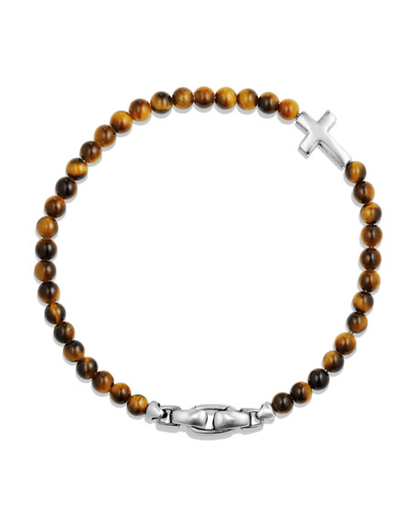 Men's Cross Station Bead Bracelet in Tiger's Eye