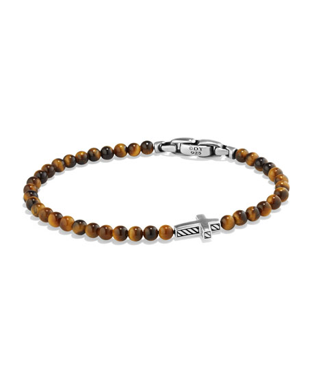 David Yurman Men's Cross Station Bead Bracelet in