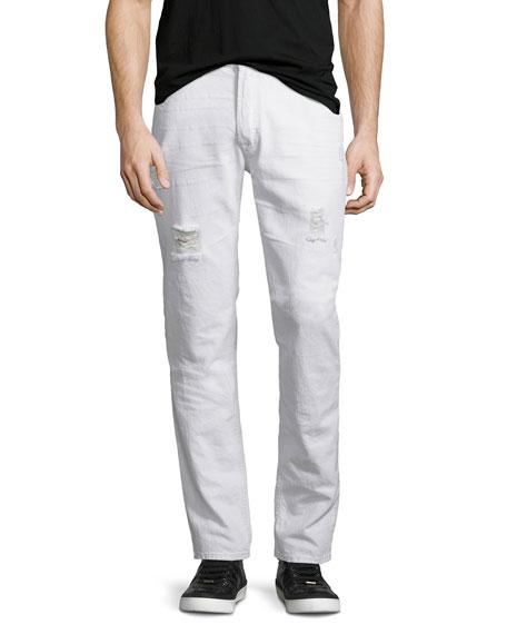 Hudson Sartor Thrasher Slouchy Skinny-Leg Denim Jeans, White