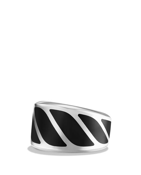 David Yurman Men's Graphic Cable Band Ring w/Black