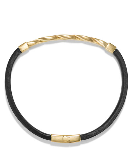 Cable Classics Leather Bracelet w/18K Gold