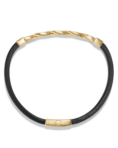 Cable Classics Leather Bracelet w/18K Gold