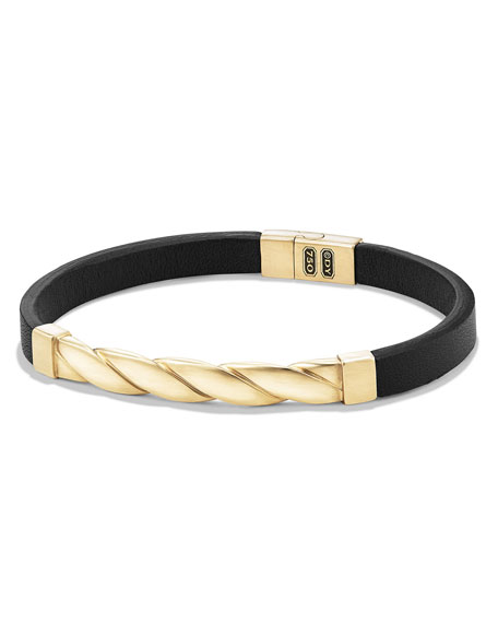David Yurman Cable Classics Leather Bracelet w/18K Gold