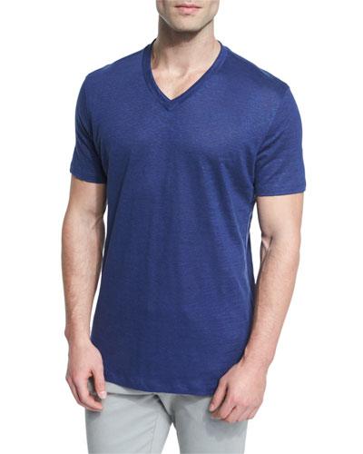 Linen V-Neck T-Shirt, Navy