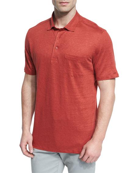 Ermenegildo Zegna Linen Short-Sleeve Polo Shirt, Red