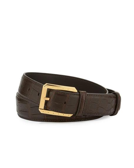 Stefano Ricci Crocodile Belt w/Golden Buckle, Black