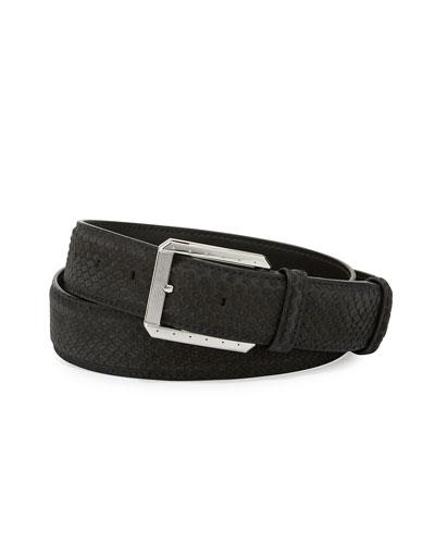 Python Belt w/Palladium Buckle, Black