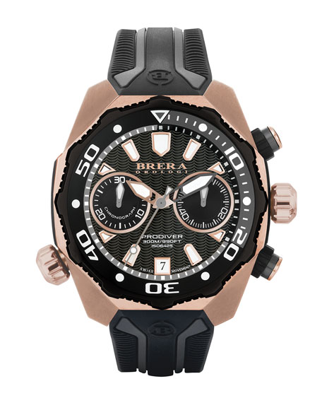 Brera 47mm ProDiver Chronograph Watch with Rubber Strap, Rust/Copper
