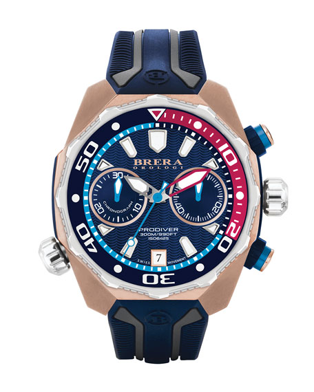 Brera 47mm ProDiver Chronograph Watch with Rubber Strap, Navy/Rose Gold