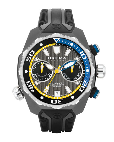47mm ProDiver Chronograph Watch, Black/Silver