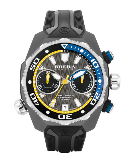 Brera 47mm ProDiver Chronograph Watch, Black/Silver
