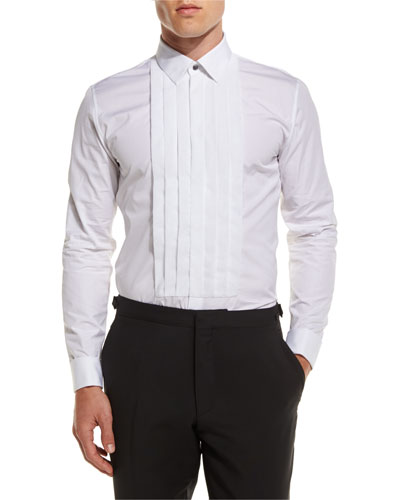 Pleated-Bib Tuxedo Shirt, White