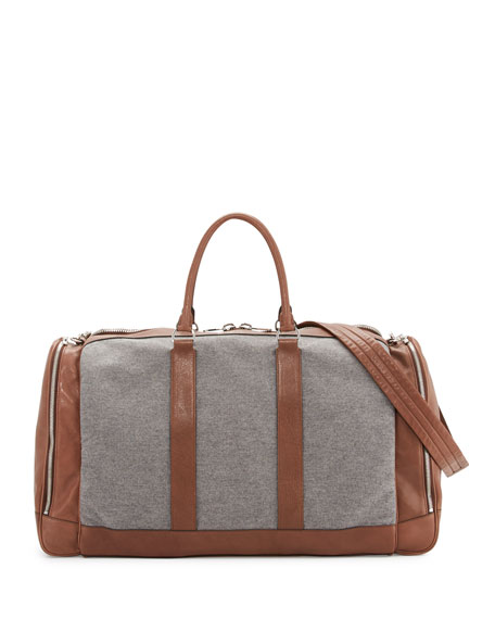 Brunello Cucinelli Men's Leather & Wool-Cashmere Duffel