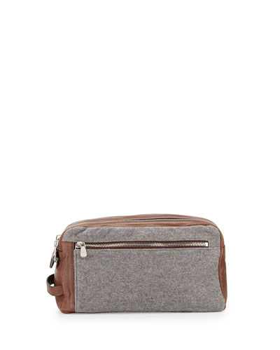 Leather & Wool-Cashmere Travel Toiletry Bag, Tan/Gray