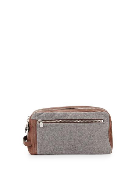 Brunello Cucinelli Leather & Wool-Cashmere Travel Toiletry Bag,