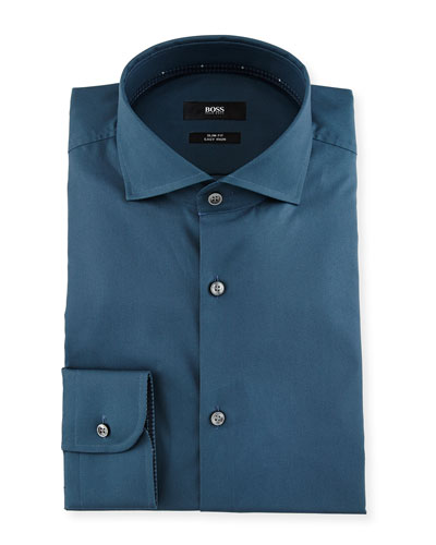 Jery Slim-Fit Solid Dress Shirt, Teal