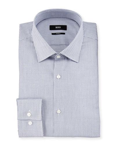 Jenno Mini-Houndstooth Slim-Fit Dress Shirt, Navy/White
