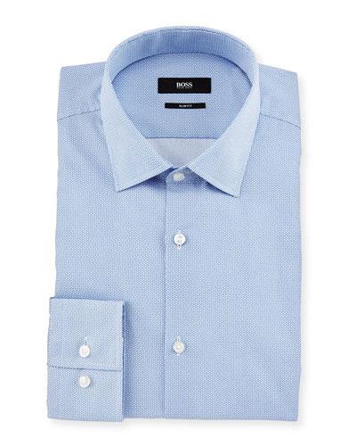 Jenno Slim-Fit Geo-Print Dress Shirt, White