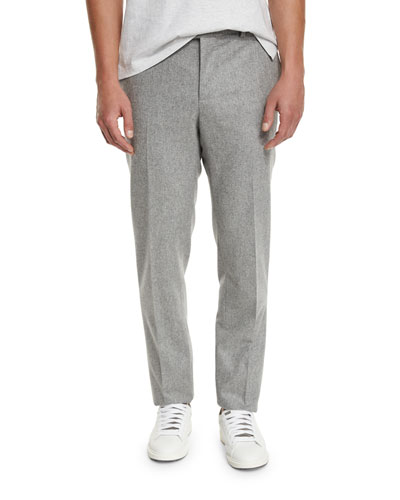 Flat-Front Wool Trousers, Light Gray