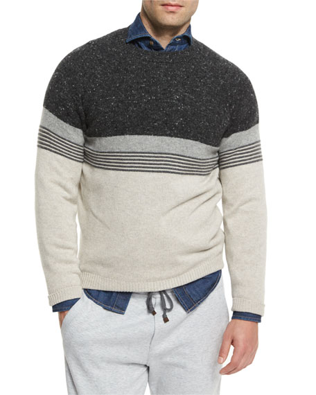 Brunello CucinelliDonegal Colorblock Striped Sweater, Tan