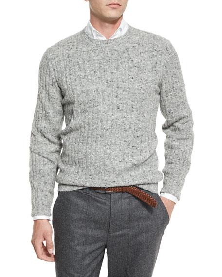 Brunello CucinelliDonegal Crewneck Ribbed Sweater, Medium Gray