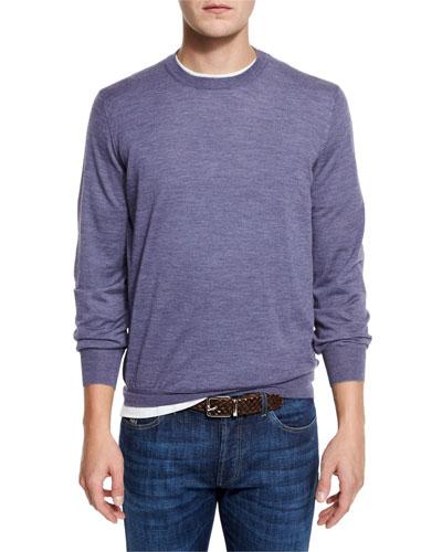 Fine-Gauge Crewneck Sweater, Purple