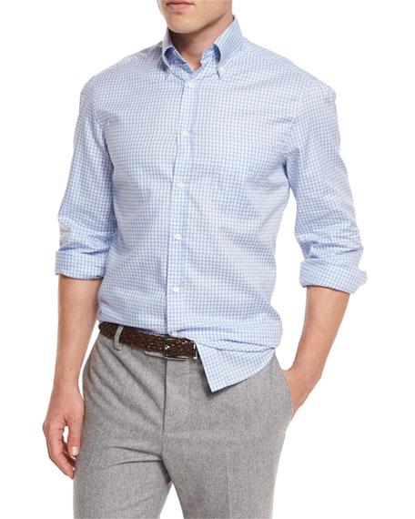 Brunello Cucinelli Basic-Fit Check Sport Shirt, Light Blue