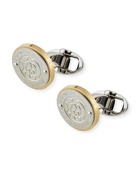 Logo-Front Round Cuff Links