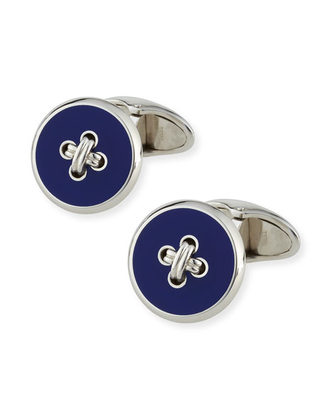 Button & Thread Cuff Links, Silver/Blue
