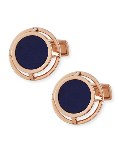 Lapis Wire-Frame Cuff Links, Gold
